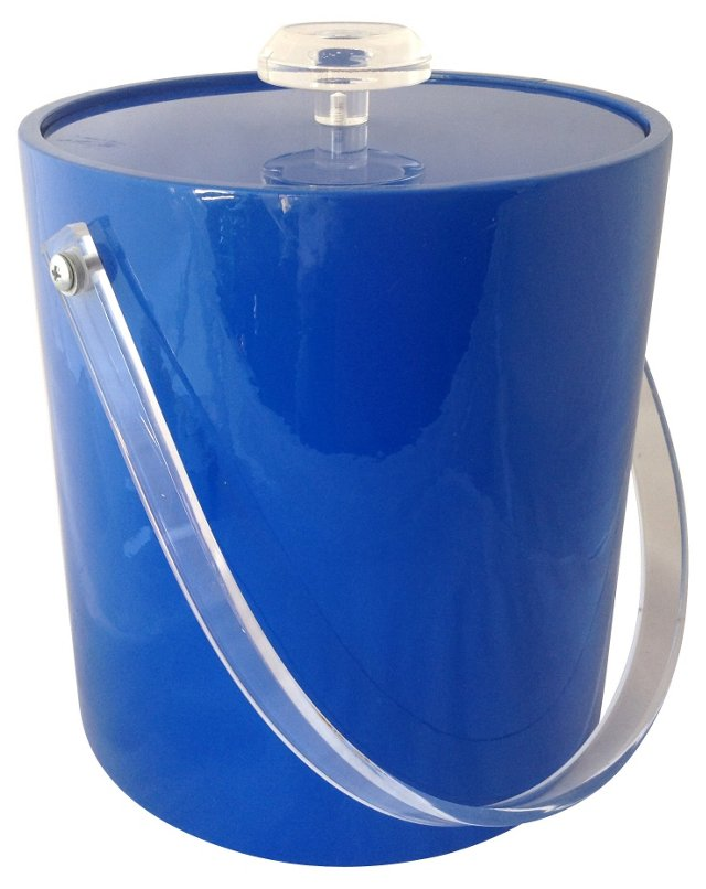 Blue Vinyl & Acrylic Ice Bucket