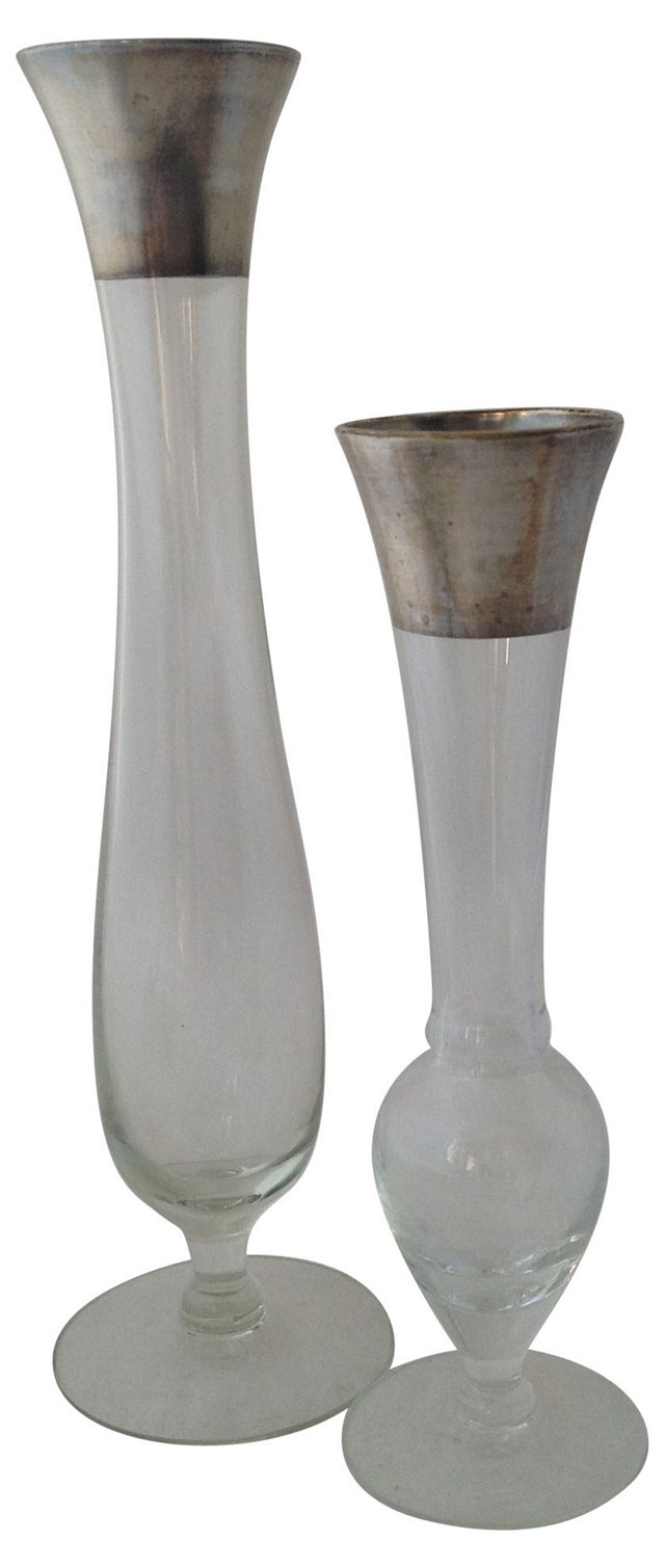 Silver Band Bud Vases, Pair