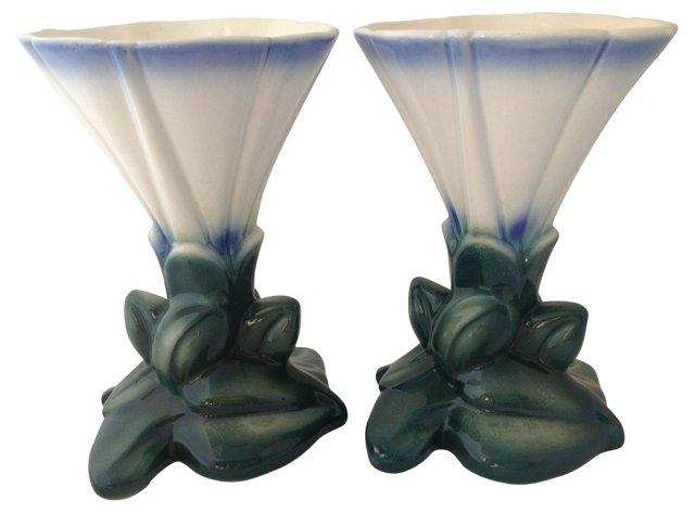 Ceramic     Flower Vases, Pair
