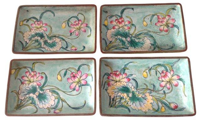 Chinese Enamel Trays, S/4
