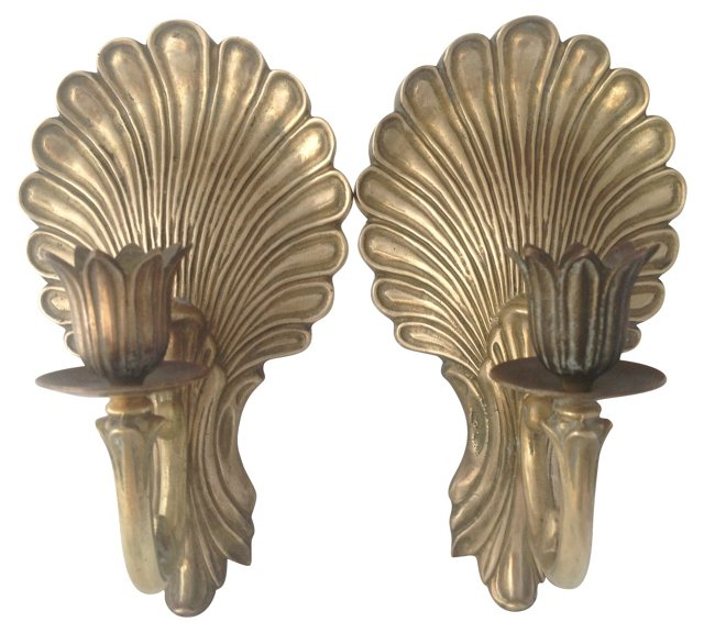Brass Wall Sconces, Pair