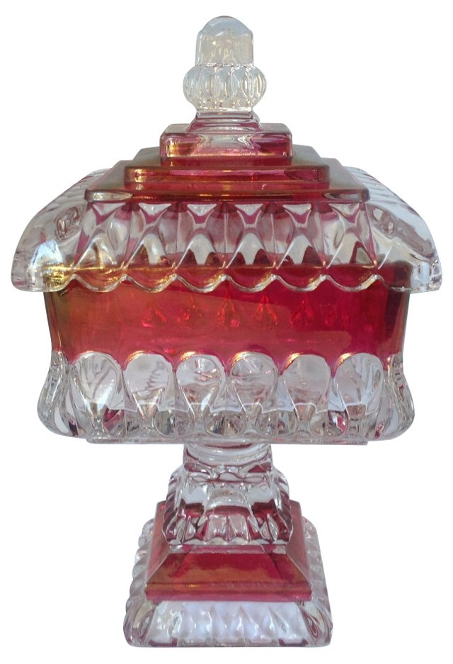 Gold Ruby Glass Candy Dish