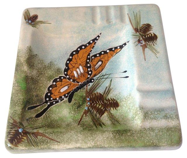 Monarch Butterfly-Motif Ashtray