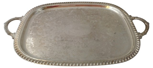 Footed Silverplate Serving Tray