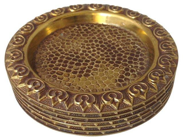 Italian Brass Coasters, S/6