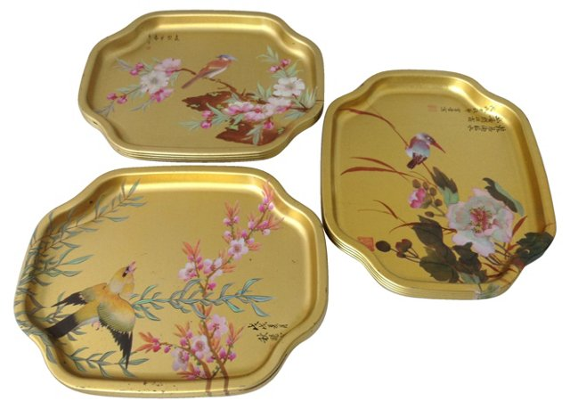 English Chinoiserie Metal Trays, S/10