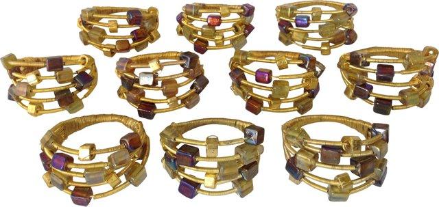 Goldtone & Glass Bead Napkin Rings, S/10