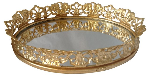 Oval Mirrored Perfume Tray
