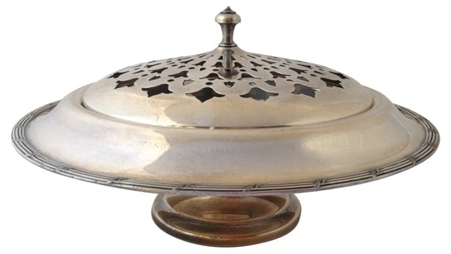 Covered Silverplate Serving Bowl