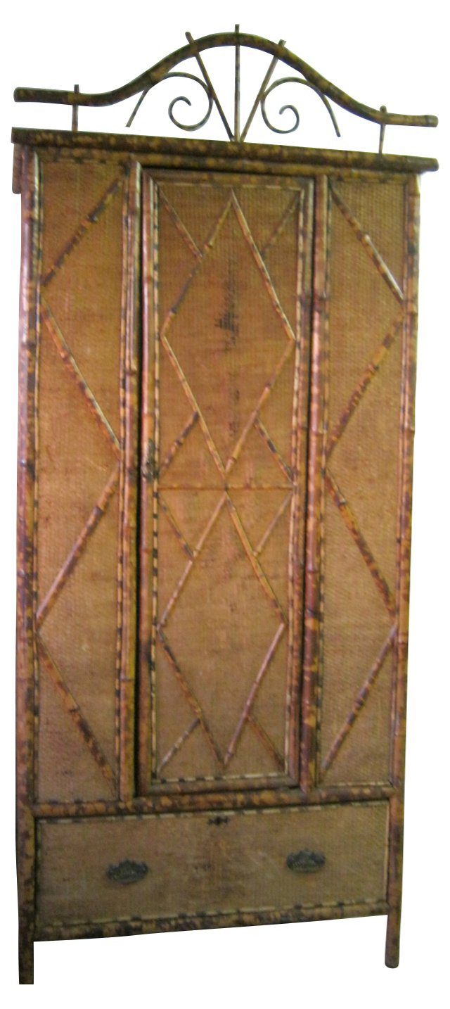 Antique English Bamboo Armoire