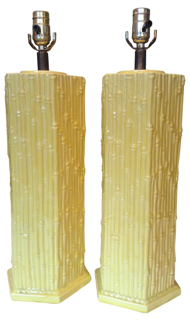 Bamboo-Style Lamps, Pair