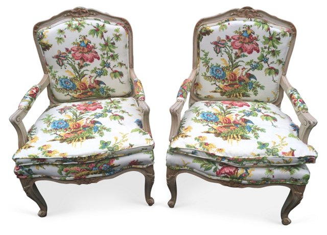 French Louis XV-Style Chairs, Pair