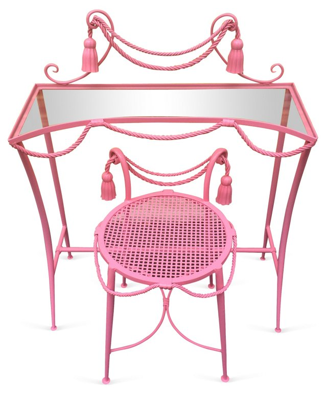 Italian Pink Lacquer Vanity & Chair
