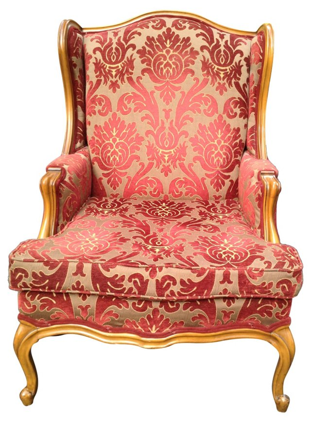 French-Style Damask  Wing Chair