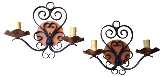 Iron & Copper Sconces, Pair