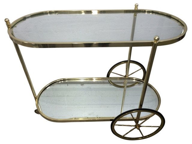 Italian Brass & Mirror Bar Cart
