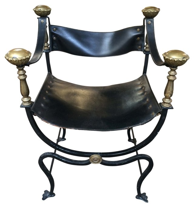 Iron &  Brass Campaign-Style Chair