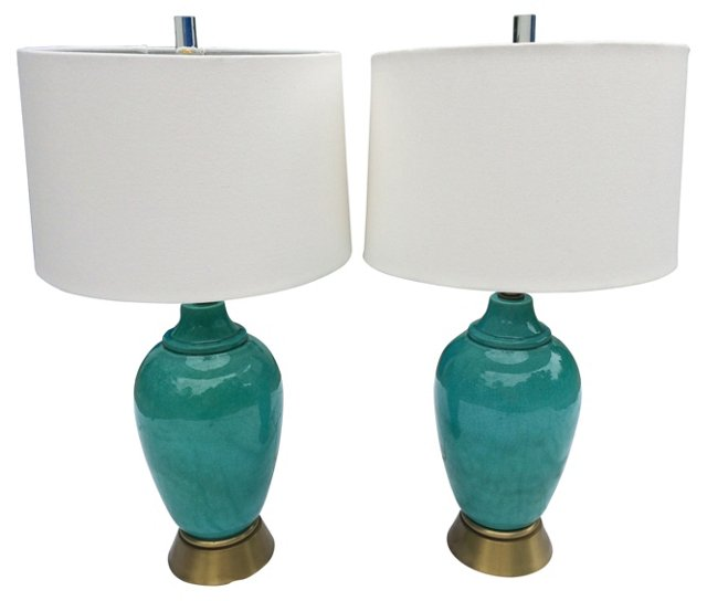 California Pottery Aqua Lamps, Pair
