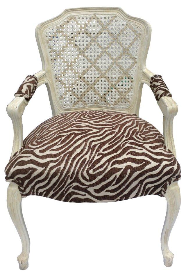 French-Style  Zebra-Print Armchair