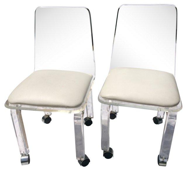 Midcentury  Bent Lucite Chairs, Pair