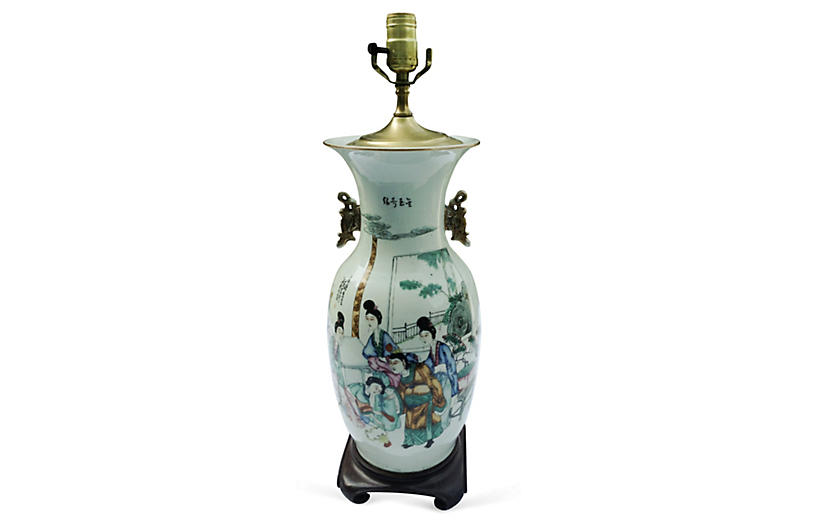 19th-C. Chinese Hand-Painted Lamp