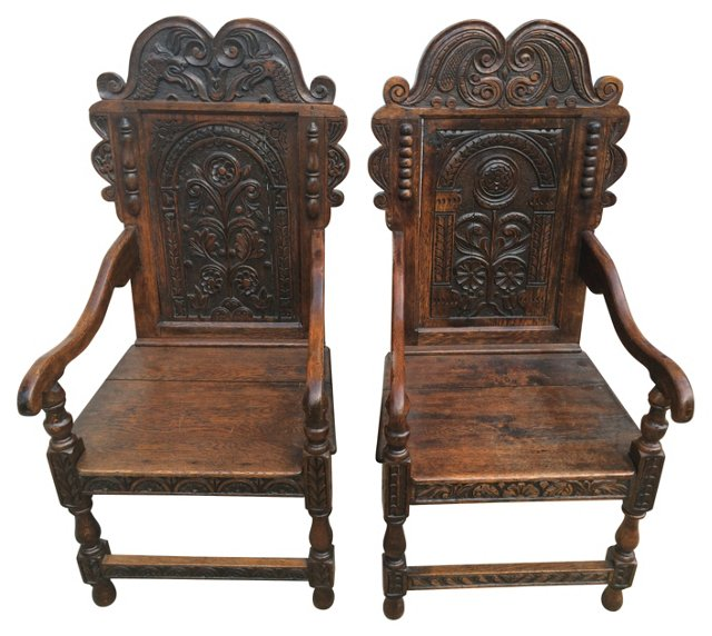 18th-C. Carved English Oak Chairs, Pair