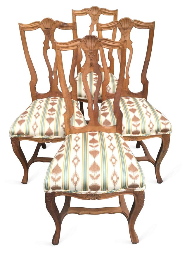 19th-C. French Carved Chairs, S/4