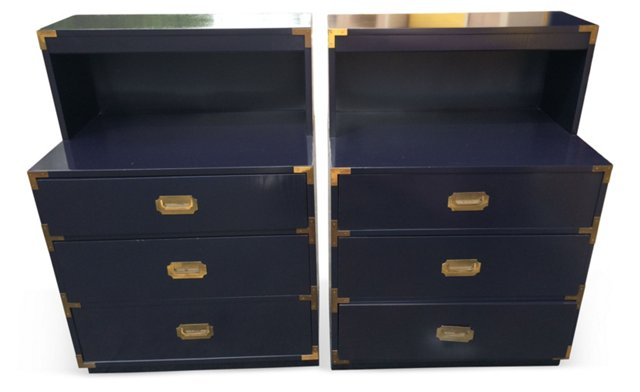 Navy Campaign-Style  Chests, Pair