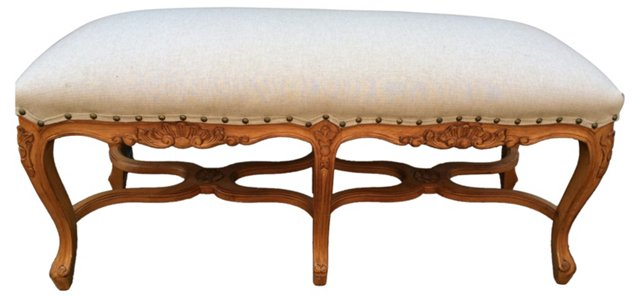 Carved French-Style  Bench