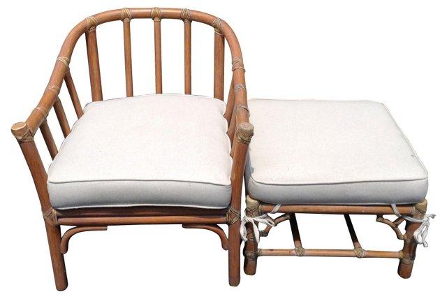 Midcentury  McGuire Chair & Ottoman