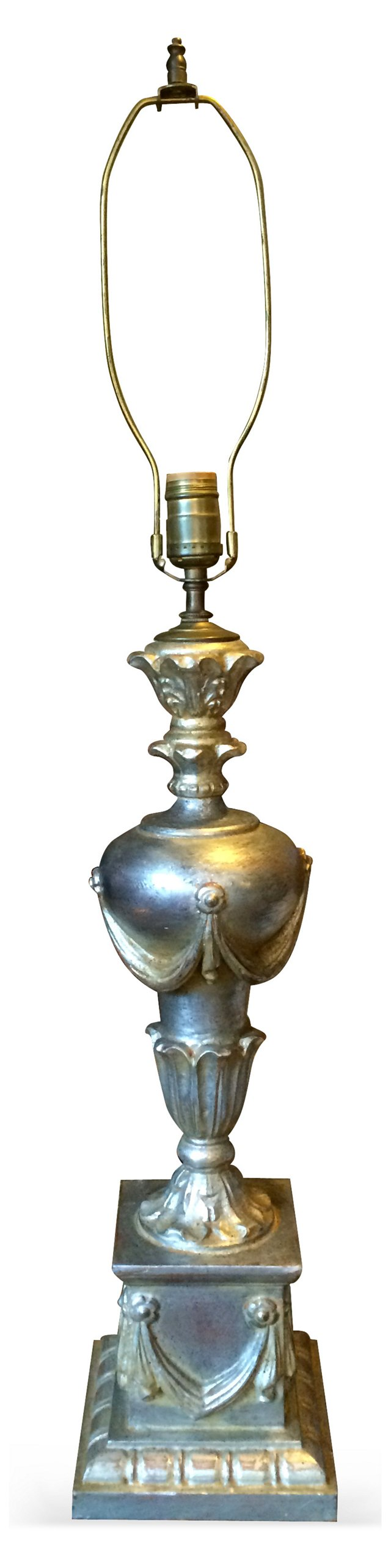 Italian Silver-Leaf Carved Wood Lamp