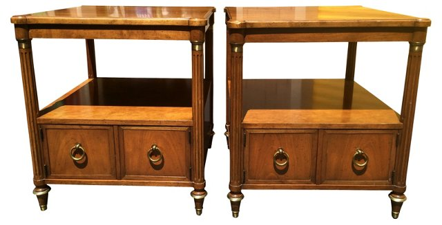 Baker Neoclassical-Style End Tables, S/2