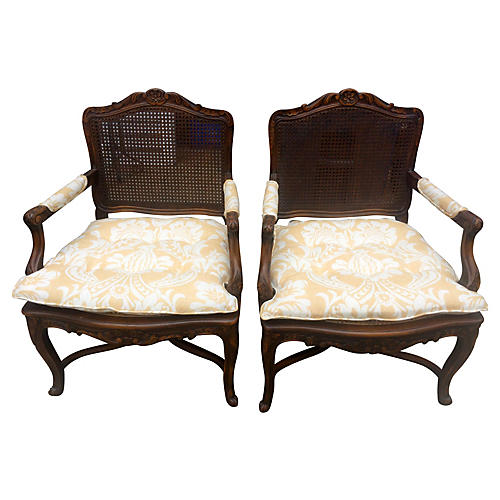Louis XVI Style Caned Chairs, Pair
