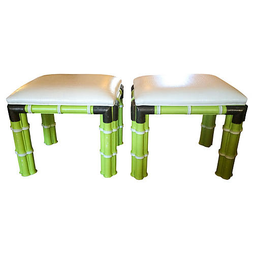 1960s Bamboo-Style Ottomans, Pair