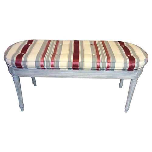 Antique French Bench in Silk