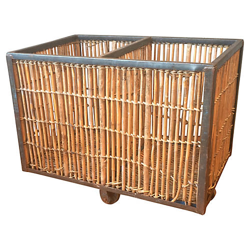 Industrial French Bamboo Cart