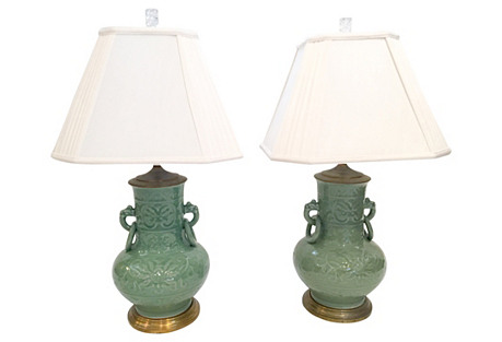 Early Asian-Style Celadon Lamps, Pair