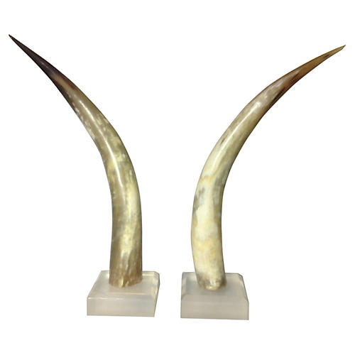 1960s Horns w/ Lucite Bases, Pair