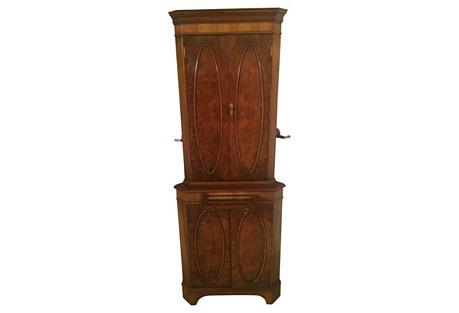 English Bar Burl-Walnut Corner Cabinet