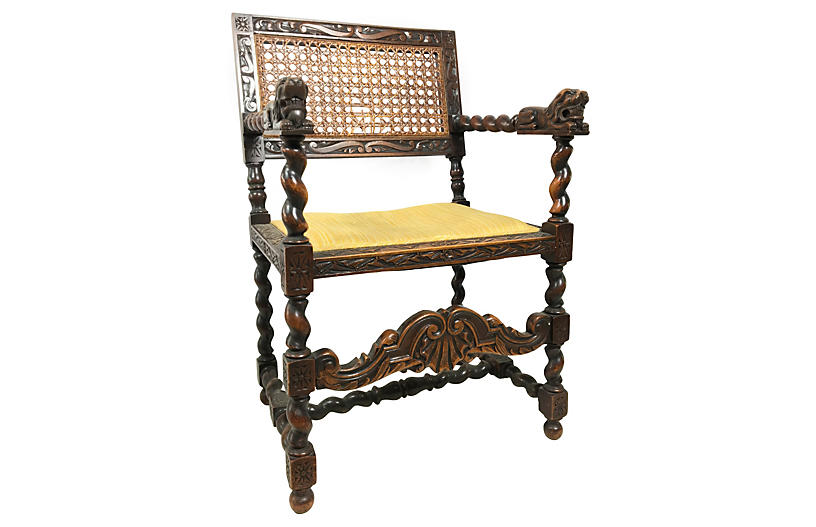 Antique Oak Barley-Twist English Chair