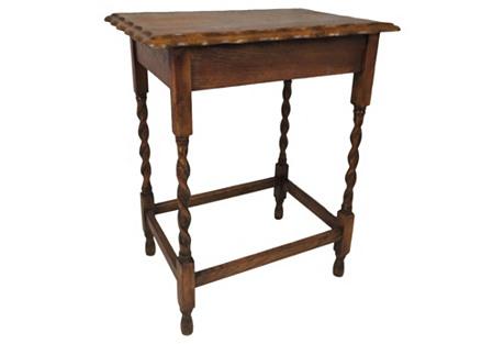 Antique English Oak Pie Crust Table