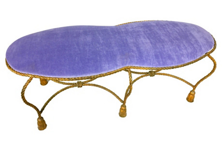 Gilded Italian Tassel & Velvet Ottoman