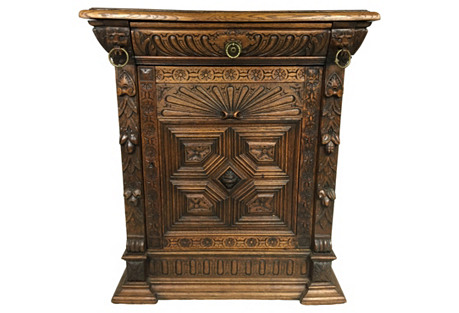 19th-C. Carved French Oak Cabinet