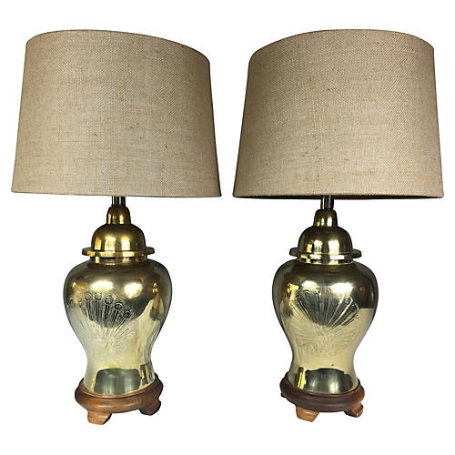 Brass Peacock Ginger Jar Lamps, Pair