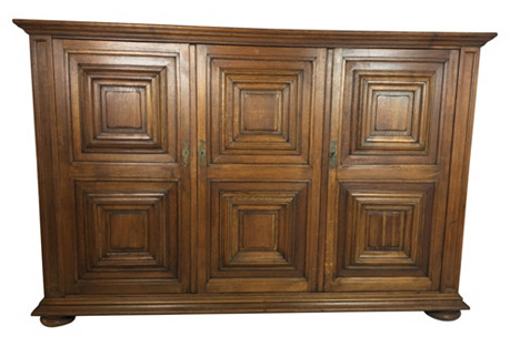 19th-C. Country French Oak Cabinet