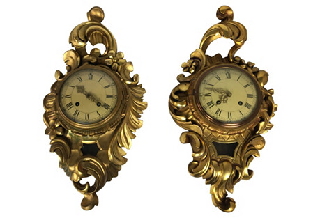 French-Style Carved Gilt Clocks, Pair