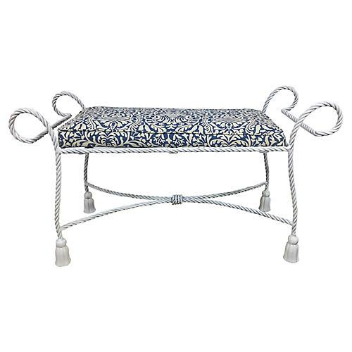 Italian White/Navy Tassel Bench