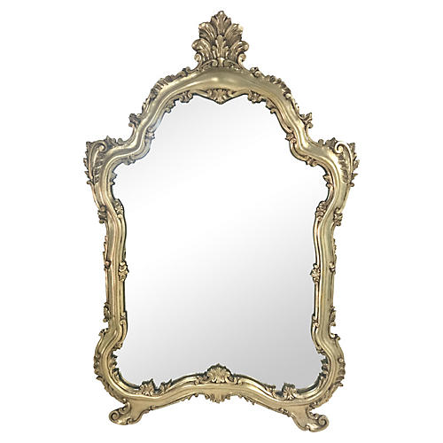 Italian Silver Giltwood Carved Mirror