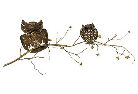 1960s Brass & Copper Owl Wall Sculpture
