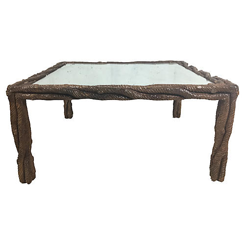Carved Faux Bois Coffee Table